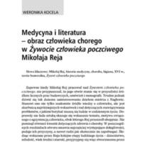 Medycyna a literatura – obraz człowieka chorego w Żywocie człowieka poczciwego Mikołaja Reja.