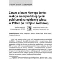 Zaraza u bram Nowego Jorku reakcja amerykańskiej opinii publicznej na epidemię tyfusu w Polsce po I wojnie światowej.pdf